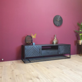 Tv-meubel New York - Zwart - Metaal - 165cm_