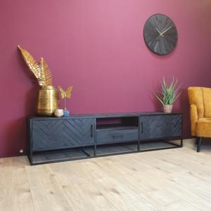 Tv-meubel New York - Zwart - Metaal - 210cm