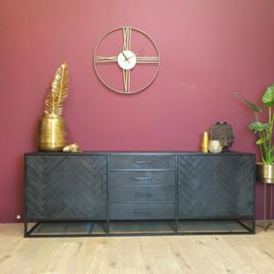 Dressoir New York - Zwart - Metaal - 210 cm