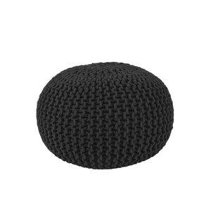 Poef Knitted - Zwart - Katoen - M