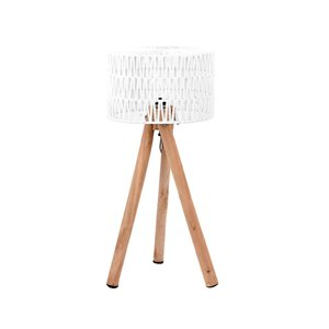 Tafellamp Stripe - Wit - Katoen