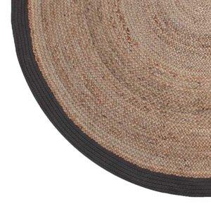 Vloerkleed Jute - Zwart - Jute - 150x150 cm