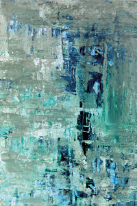 Turquoise + Beige Abstract Art