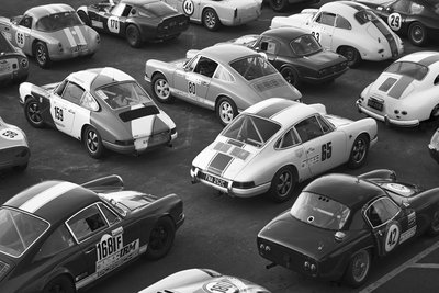 Vintage sport cars b&w