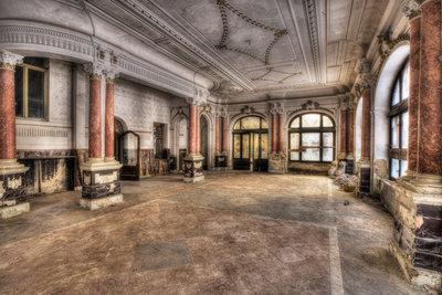 Hallway with Red Pillars