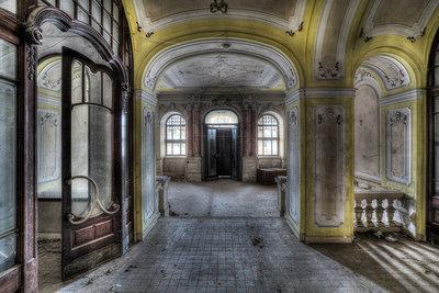 Hallway Yellow Ceiling