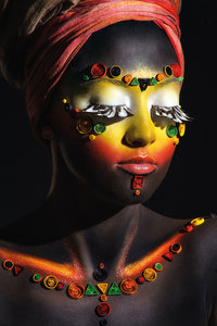 African woman with makeup