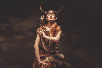 Woman shaman with hawk